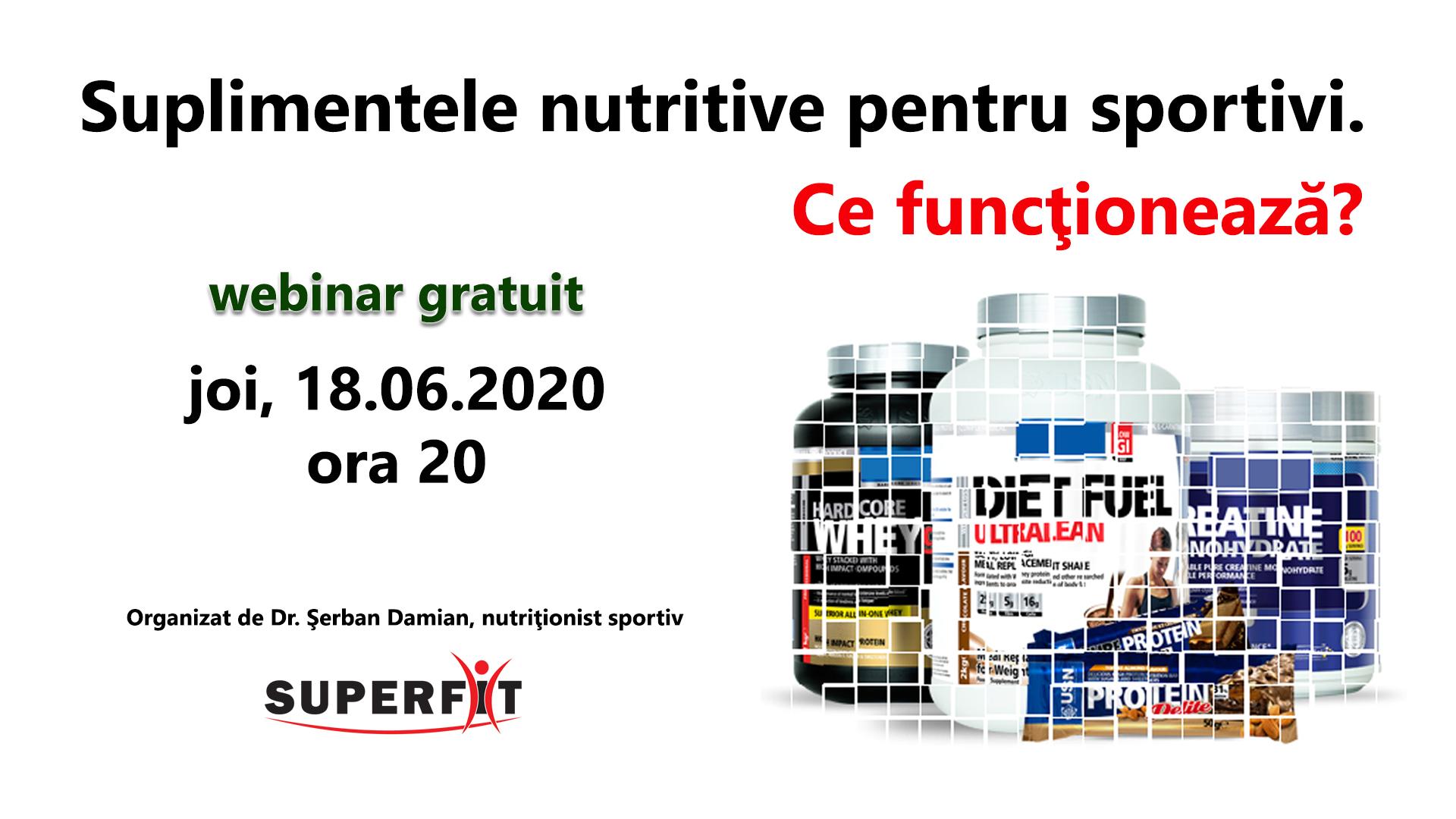 Webinar despre suplimentele nutritive pentru sportivi, 18.06.2020